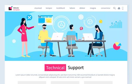 Technical support vector, people working with clients on hotline, talking and solving problems of customers 24 hours per week. Diagrams and charts. Website or webpage template, landing page flat style