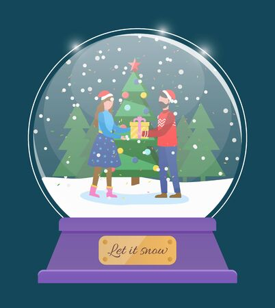Let it snow, glass bauble with snowing weather. Man and woman couple exchanging gifts on christmas holidays. Xmas snow globe toy. Snowfall in winter landscape cheerful pair flat style vector