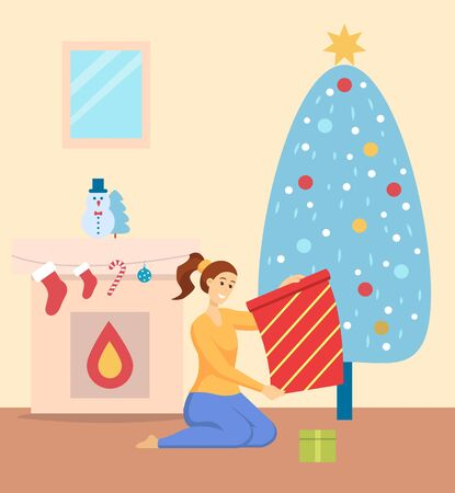 Woman unpacking gifts on Christmas holiday vector. Girl at home sitting on floor by pine tree with baubles. Fireplace with socks and candy sticks. Snowman statue traditional symbols of xmas new year