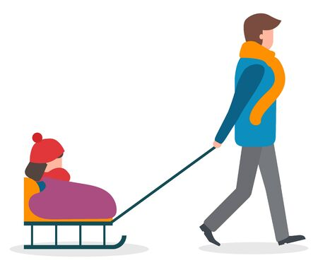Family strolling together outside in winter. Walk of parent and child. Man rides his kid on vector sled. People in warm clothes like scarf and hat, overcoat. Father and daughter spend time outdoor