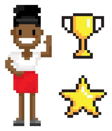 Personaje de pixel de mujer con copa de símbolos y estrella, vista de retrato de mujer sonriente con vestido agitando la mano, persona con piel oscura, vector de pixelart. Mujer de negocios pixelada Ilustración de vector