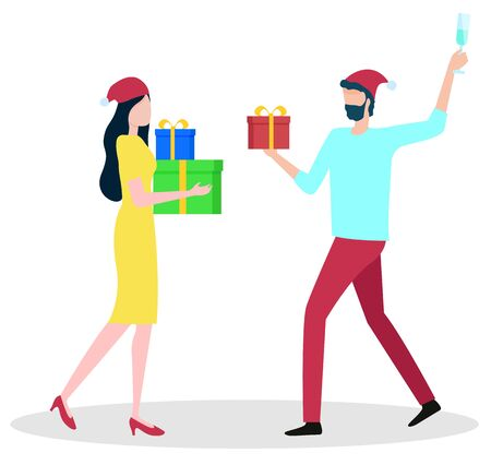 Man and woman carry colorful gift box for Christmas holiday. Couple wearing Santa hat and casual clothes holding present with ribbon. People celebration New Year, girlfriend and boyfriend vector