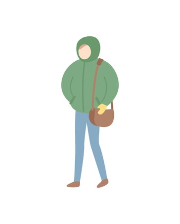 Standing person in jacket with hood and mittens, holding bag vector in flat style isolated on white, human in warm clothes, full length portrait vector