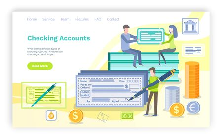 Checking account vector, man with pen ready to sign check with personal information, transaction of money. Banking system and banking of people. Website or webpage template, landing page flat style Ilustrace