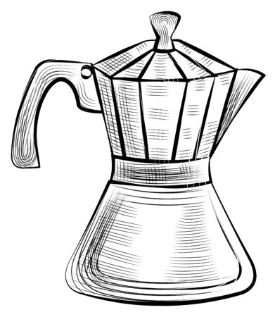 Moka pot for brewing espresso coffee, steel kettle for preparing strong drink of dark beans. Vector meta kettle isolated monochrome sketch icon Stock Vector - 134153012