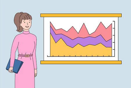 Woman with documents in clipboard vector, whiteboard with infocharts and timeline with info about project development, growing flowcharts on board Vetores