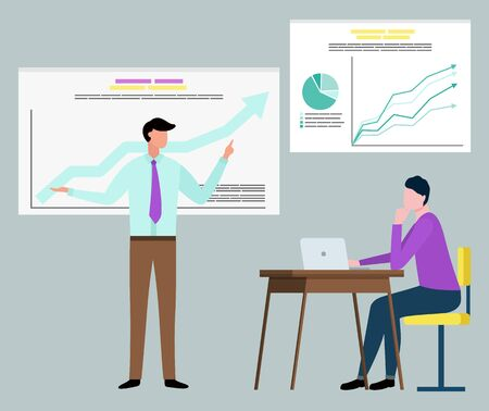 Man and woman collaboration, manager standing near board with growth graph, woman using laptop. Teamwork strategy, professional and success vector Ilustração