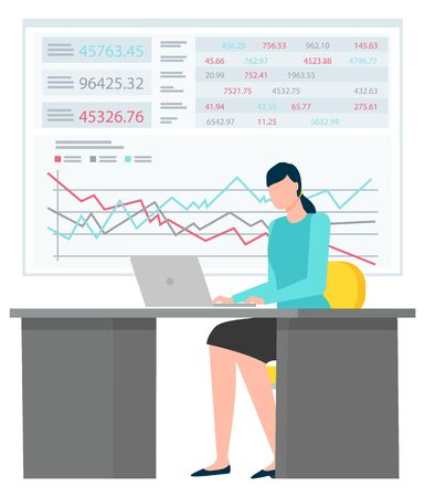 Woman sitting on chair near laptop and typing. Office worker in big company that make corporate business. Data chart and analysis diagrams on board on background. Vector illustration in flat style Çizim