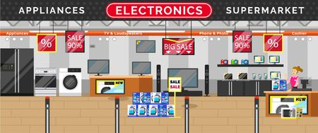 Electronics supermarket, big sale in stores. Kitchen and living room appliances. TV and loudspeakers, phone and photo in mall. Black friday discounts on technical devices, black friday, vector