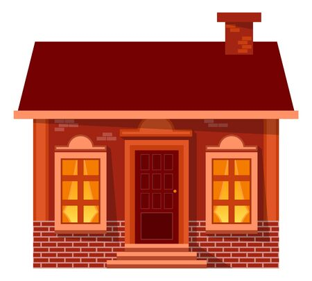 House with lights from big windows, wooden door and stairs. Village building, bricks wall and brown roof with chimney. Exterior of home architecture with panoramic glass, Christmas card vector Illustration
