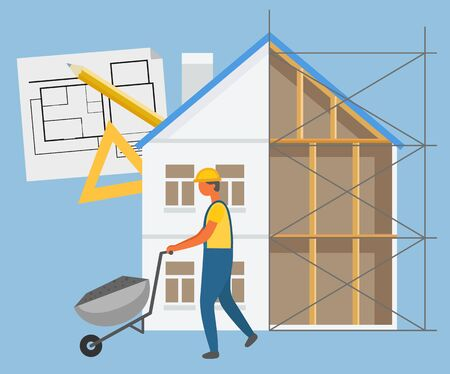 Builder character going with wheelbarrow, house project, ruler and pen. Build construction zone, wood blocks, building equipment, engineer in helmet vector
