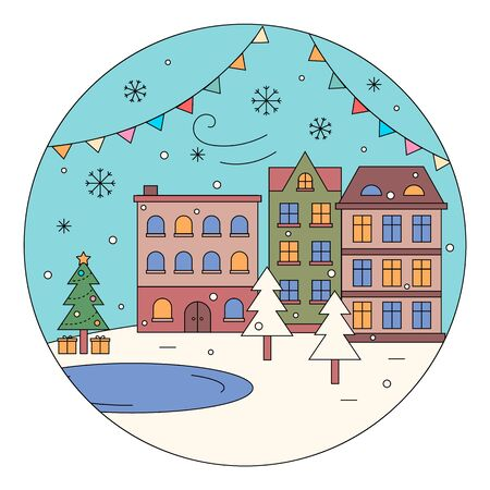 Street decorated for winter holidays vector. City view with buildings and nature. Homes and ice rink in front of house. Pine tree with presents under fir and ground covered with snow and snowflakes Ilustração