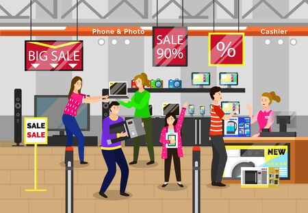 Black friday shopping character at store, electronics with computers and gadgets. People buying devices and appliances at shop. Personage standing by cashier paying for chosen item from market vector