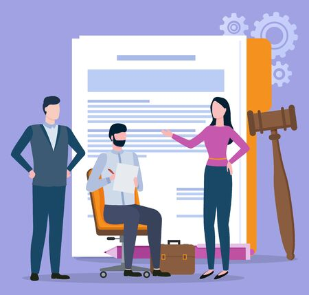 Man and woman character discussing, documents and gavel. Portrait view of people resolving legal problems, broker collaboration, partnership and law vector Illustration