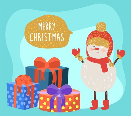 Merry christmas greeting card. Snowman wearing knitted gloves, hat and scarf. Cute winter character on xmas celebration. Pile of gifts in boxes. Decorative packages in wrapping paper vector