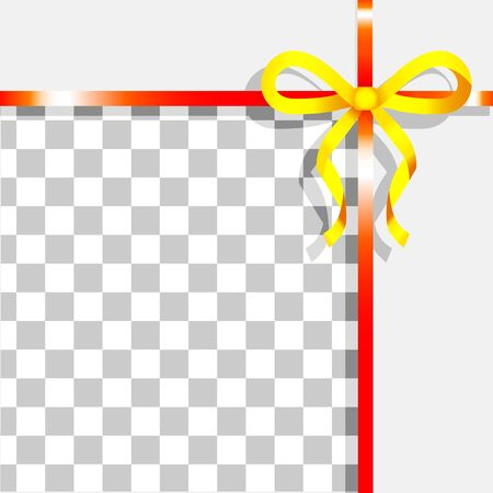Empty promotional banner with ribbon bow decoration. Yellow and red tape on transparent background. Decor for gift cards or presents mockup. Silk fabric stripe design adornment. Vector in flat