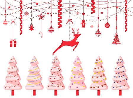 Empty Christmas banner, isolated pine trees and decorations for xmas holiday celebration. Spruce with garlands and reindeer. Balls and baubles with ornaments on threads. Present and stars vector
