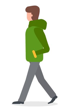 Female character walking in  vector. Isolated lady wearing warm winter jacket and thick clothes to get heat. Woman strolling with hands hidden in pockets flat style illustration
