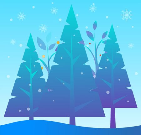 Field in winter vector, landscape with pine trees and foliage. Snowing weather outside. Nature in cold season of year. Scenery with spruce and snowy hills. Wood covered with snow flat illustration Illustration