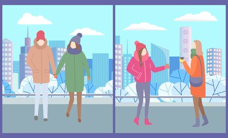 Guy and girl walking urban park holding their hands. Two women stand together and drink tea or coffee to get warm. City street vector illustration Ilustração
