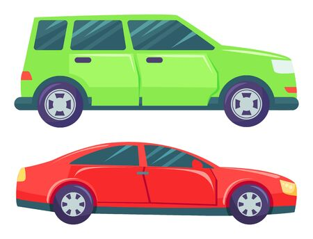 Two cars isolated on white background. Green large minivan or multi purpose vehicle. Red small hatchback or sedan. Auto to drive and get your destination quickly. Vector illustration in flat style Illusztráció