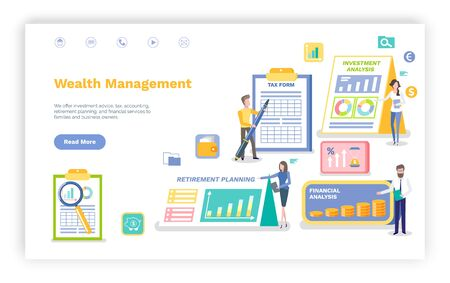 Wealth management vector, man signing tax form, investment and financial statistics and data on accounts, people working in banking sphere.Website or webpage template, landing page flat style