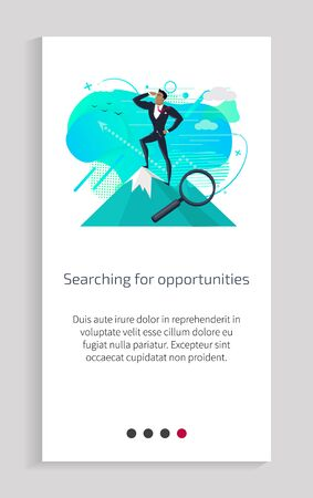 Searching for opportunities vector, businessman wearing suit and formal wear, person standing on mountain peak magnifying glass zooming image. Website or app slider, landing page flat style Çizim
