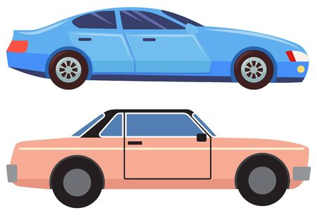Two cars isolated on white background. Blue sedan with dark glasses. Pink small and old vehicle cabriolet. Auto to drive and get your destination quickly. Vector illustration in flat cartoon style