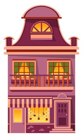 Christmas preparation of buildings exterior vector. Facade of house with balcony and windows, entrance and garlands decoration. Vintage style of construction, city or town infrastructure illustration