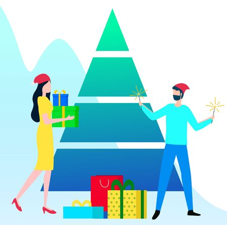 People having fun and happy to greet each other with gifts with winter holiday. Vector colorful boxes tied with ribbon under triangle abstract pine. Christmas fir tree, traditional Xmas celebration