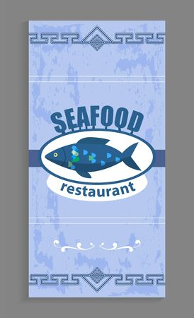 Seafood restaurant or cafe poster, logotype with  on it. Food cooked from water animals. Delicious dishes for gourmets. Blue menu with  and marine habitat vector illustration flat style