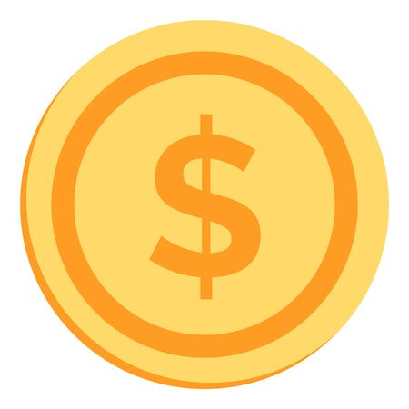 Gold coin with dollar sign. Coin icon. Vector illustration isolated on white background 向量圖像