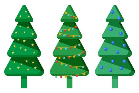 Christmas trees decoration, isolated set of spruce with garlands and glowing lights. Symbolic plant of xmas for winter holidays celebration. Evergreen botanical flora, firtree with baubles vector