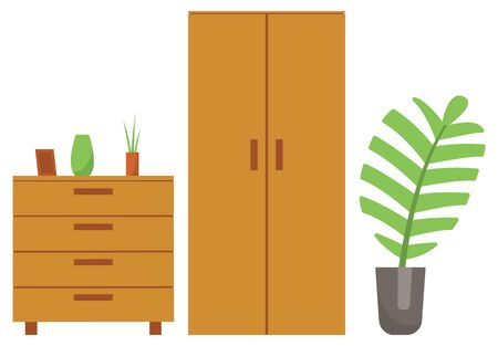 Chest of drawers and houseplant vector, isolated furniture for home interior. Wooden products with shelves and frame for photo vase with flowers flat style