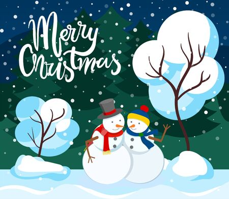 Merry christmas greeting card, winter character in park in snowfall. Snowman male and female figures made of snow. Personage wearing warm clothes in pine tree forest. Woods with snowy peaks vector
