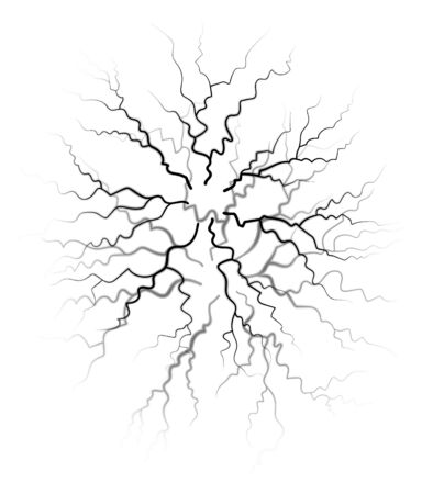 Lightning during thunderstorm, abstract picture. Naturally occurring electrostatic discharge. Black lines like fracture and fissure isolated on white background. Vector illustration in flat style
