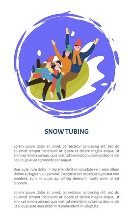 Family tubing mother and father with children in tube vector. Downhill splashes of snow, people having fun, laughing child with parents downslope