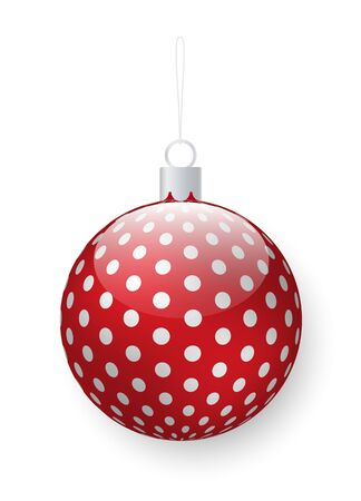 Christmas pine tree decoration, isolated bauble with polka dot ornament. Winter season preparation, symbol of New Year. Decor for Xmas party, celebration of holidays. Toy with thread to hang on fir Ilustração