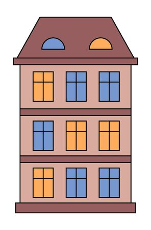 Building facade vector, isolated icon of house with windows and light in them. Evening home in city or village. Construction for town design. Exterior of estate in night time, flat style illustration  イラスト・ベクター素材