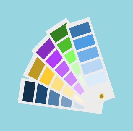 Geometric tinted paper, palette of shades, rectangular lists in flat design style isolated on blue, choosing color for project, creative idea vector