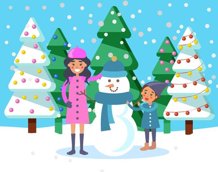 Mom and child sculpting snowman in park. Winter landscape with snowfall and pine trees with baubles. Mum and kid with sculpture of snow having hat and knitted scarf. Seasonal vacations vector