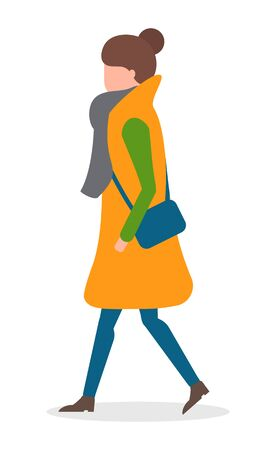 Woman with vector handbag walking on pathway alone. Lady in warm clothes like scarf and overcoat. Brunette strolling in winter or autumn, cold weather illustration. Isolated person on white, side view