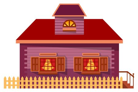 Wooden building, housing for family. Facade, front exterior of home with vector windows and roof, stairs and fence. Residence in village for living out of town. House isolated cottage, cartoon style