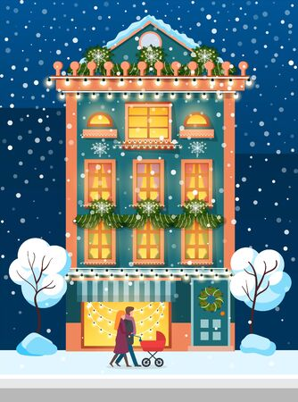 Young family consisting of mother, father and newborn, kid in pram walking in winter vector. People strolling with perambulator in snowfall passing house decorated by wreaths and pine branches Illustration