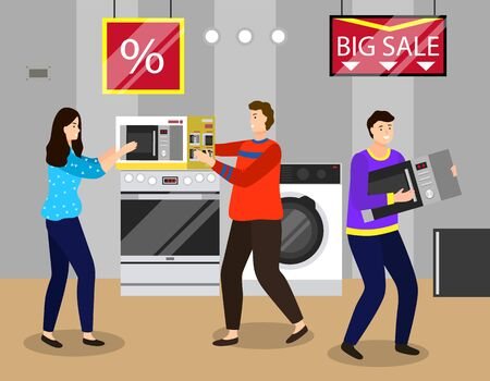 Electronics shop sales, people quarreling about items. Man carrying microwave oven to counter. Domestic appliances for home usage. Washing machine and equipment for house vector illustration Illustration