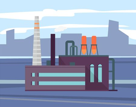 City and development of manufacturing and production making vector, factory with pipes and technologies. Powerplant with turbines, smog and cityscape