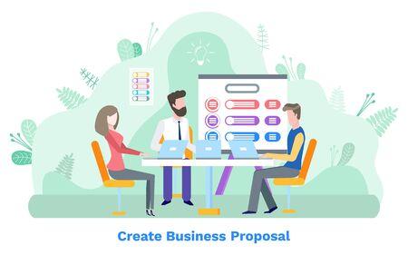 Créez une proposition commerciale, les employés communiquent avec un ordinateur portable. Conseil avec schéma, stratégie financière, homme et femme sur le lieu de travail, vecteur d'analyse