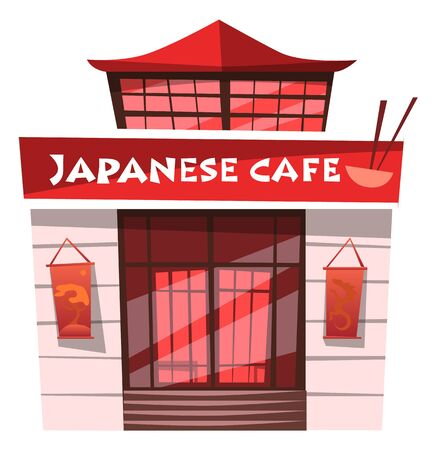 Japanese cafe serving food by Japan recipes vector. Diner building exterior facade of restaurant in asian architectural tradition. Bar or eatery, japan eating meal oriental dishes. Bowl and chopsticks Illustration