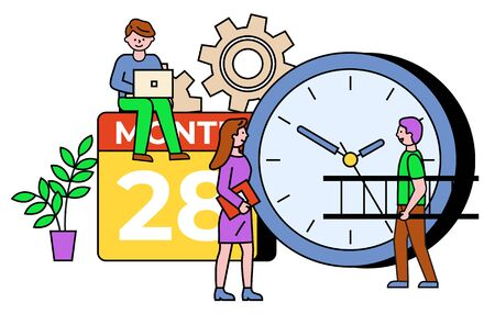 People communication with laptop, clock and calendar objects. Developer working with computer, person carrying stairs. Information technology with setting and time symbol with outline vector Stock Illustratie