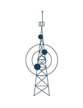 Satellite tower vector, isolated station sharing connection flat style construction for cellular communication, modern technologies, mobile signal transmission